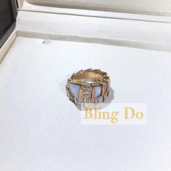 Bvlgari serpenti one-coil ring with diamond