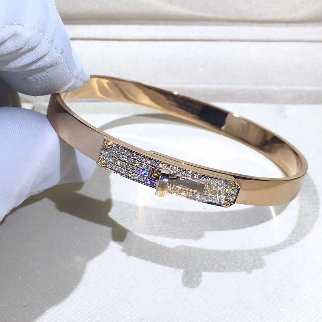 Hermes Kelly Bracelet 18k Rose Gold with Diamonds