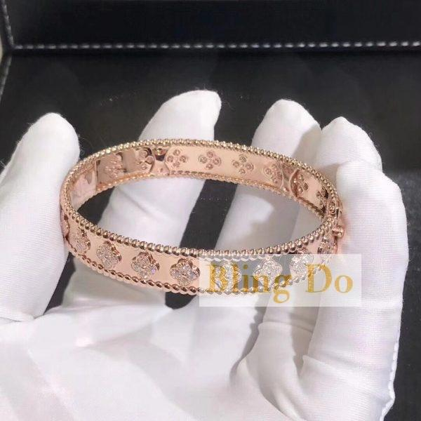 Perlée clovers bracelet, small model Pink gold, Diamond