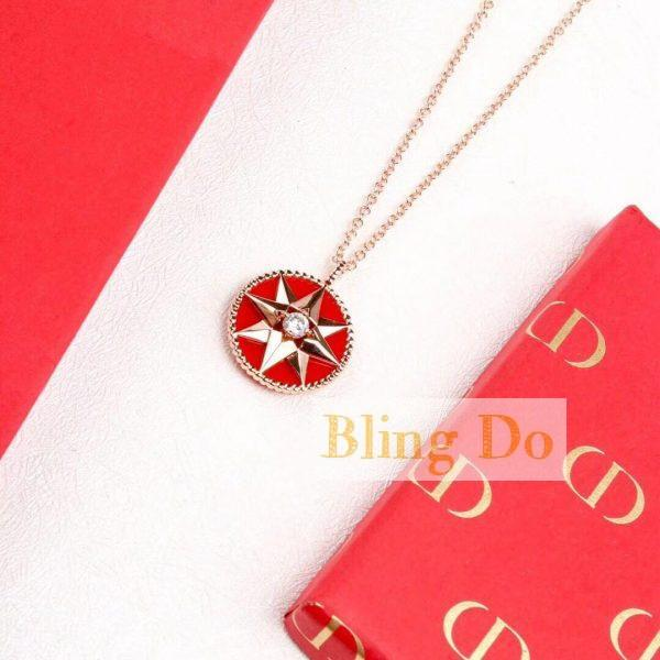 ROSE DES VENTS NECKLACE, 18K PINK GOLD, DIAMOND AND RED LACQUERED CERAMIC