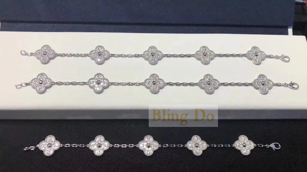 Vintage Alhambra bracelet, 5 motifs white gold, Diamond