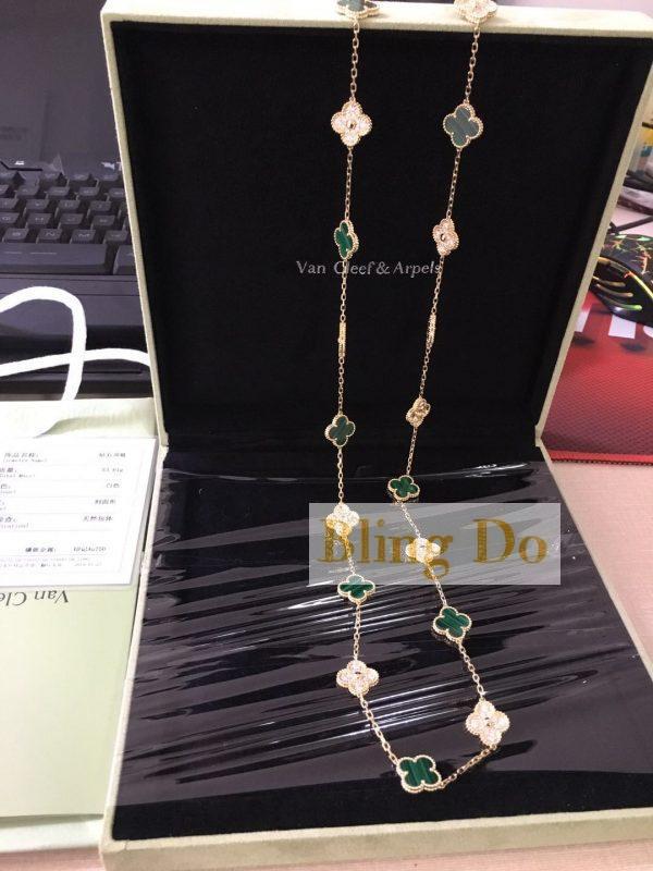 Vintage Alhambra long necklace, 20 motifs Yellow gold, Diamond, Malachite
