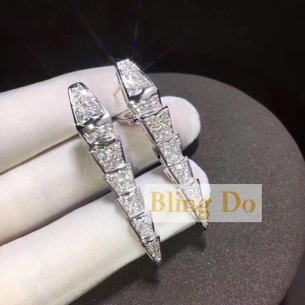 Bvlgari Serpenti Earings in Solid 18Kt white gold with full pave diamonds