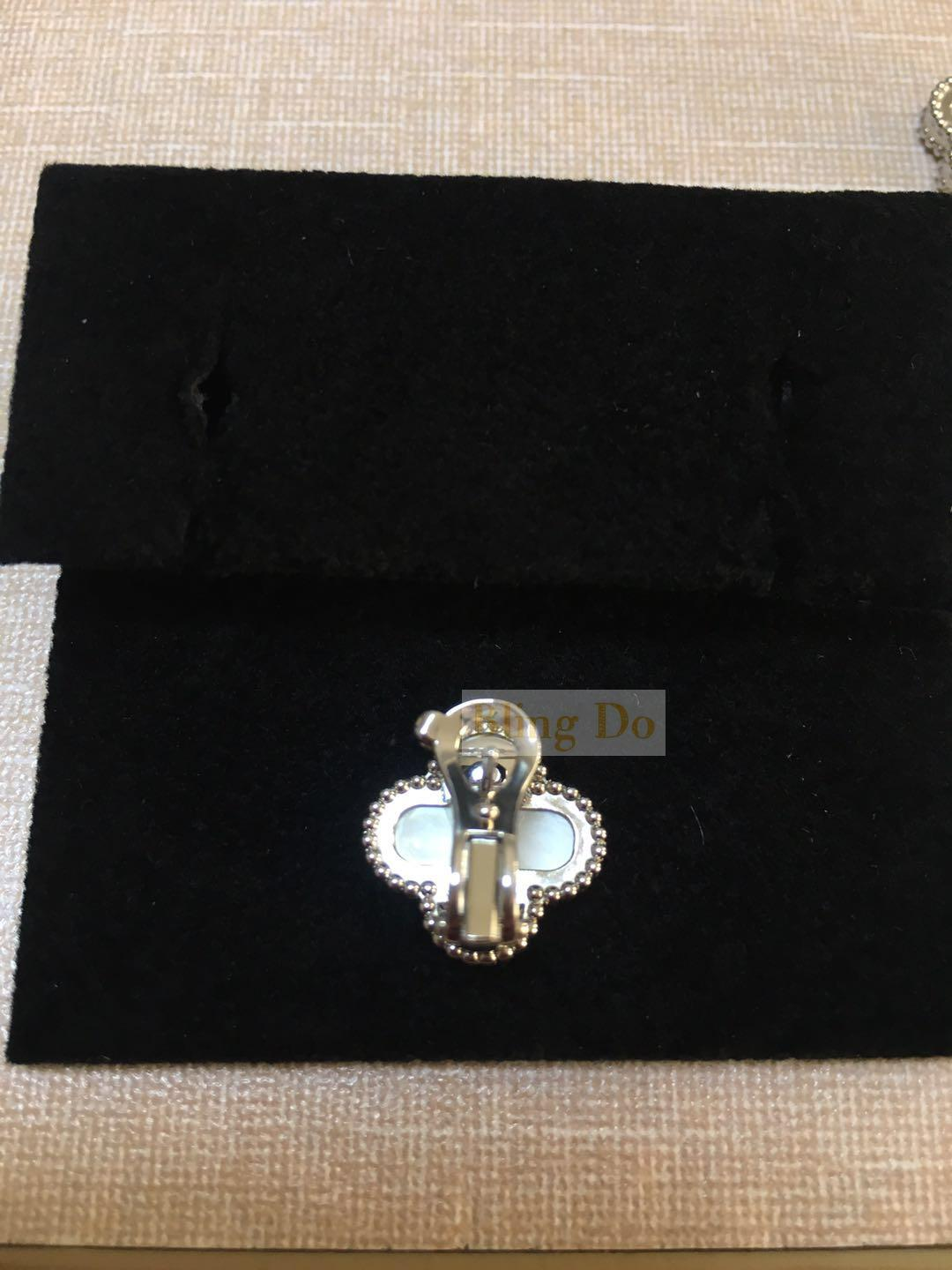 Vintage Alhambra earrings White gold, Mother-of-pearl