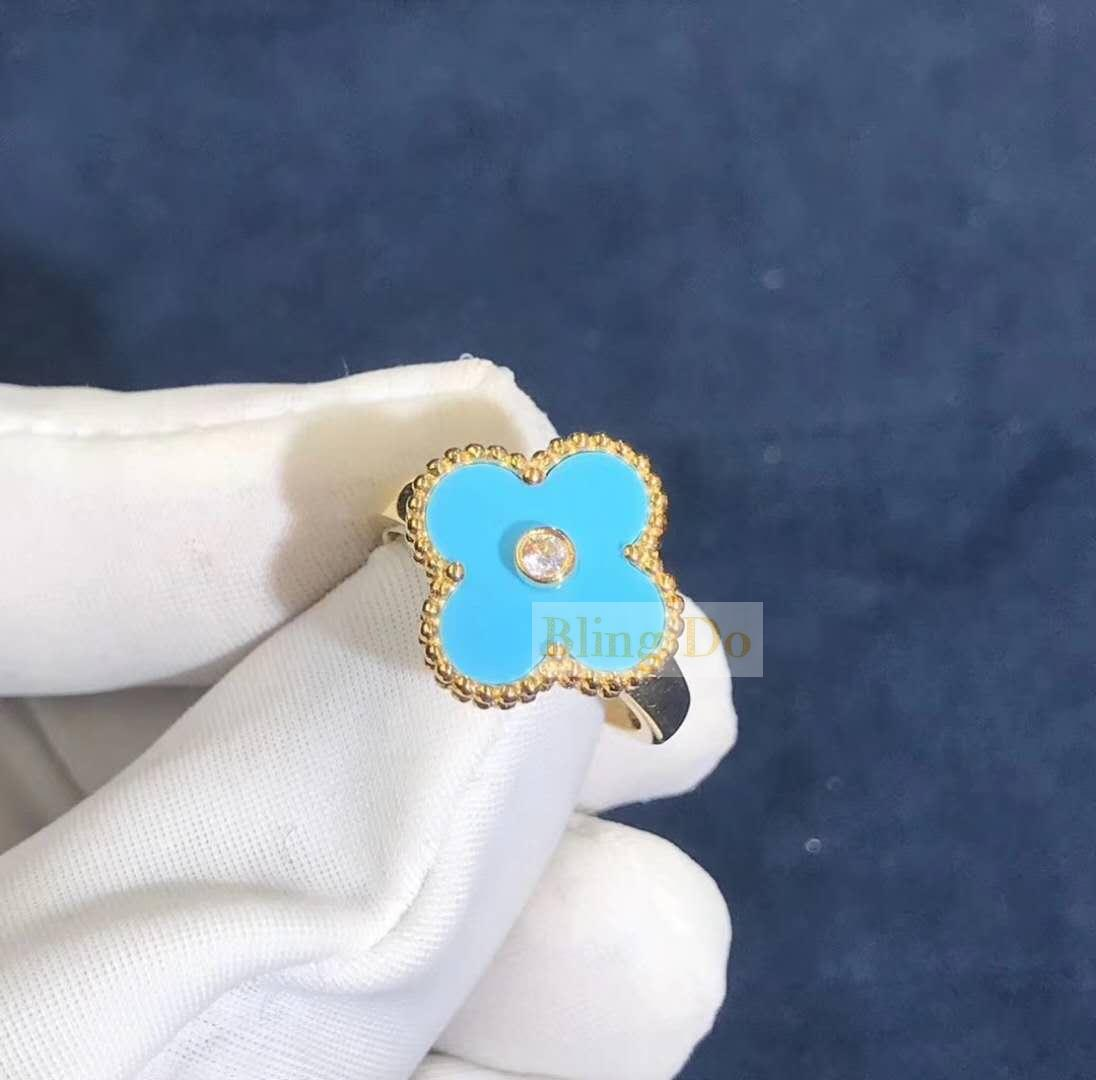 Van Cleef & Arpels Vintage Alhambra ring Yellow gold Diamond turquoise