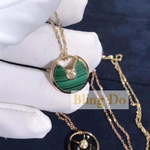 AMULETTE DE CARTIER NECKLACE XS MODEL PINK GOLD MALACHITE with DIAMOND