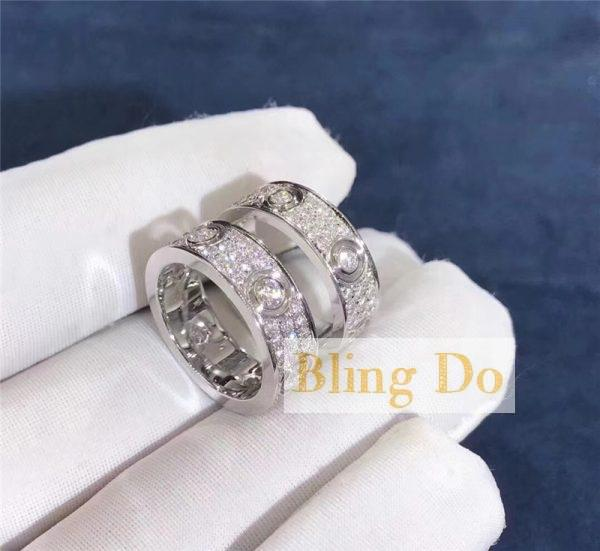 Cartier LOVE RING with DIAMOND-PAVEDWHITE in 18K White GOLD