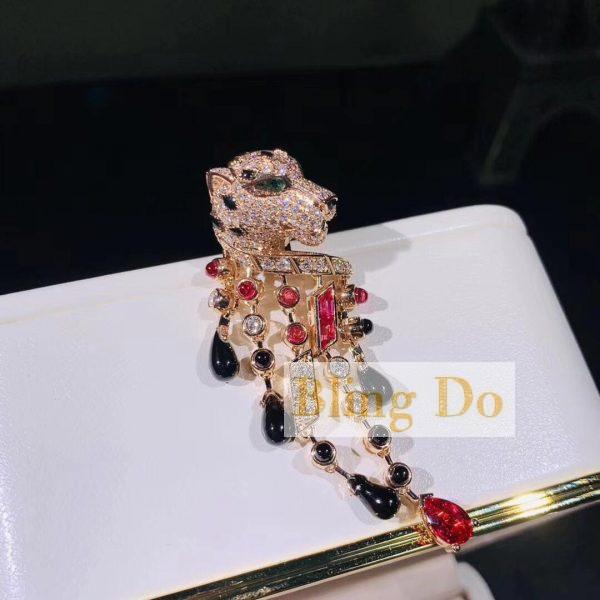 High quality PANTHÈRE DE CARTIER EARRINGS PLATINUM, RUBY, ONYX, DIAMONDS