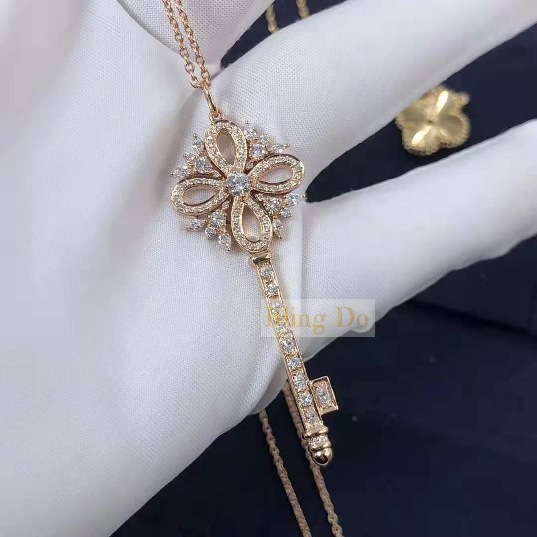 Tiffany Victoria 18k Rose Gold Key Pendant With Diamonds Design Your Own Real 18k Gold And Gia Diamond Luxury Brand Jewelry Custom Made