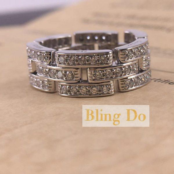 Authentic Cartier MAILLON PANTHÈRE RING, 3 DIAMOND-PAVED ROWS