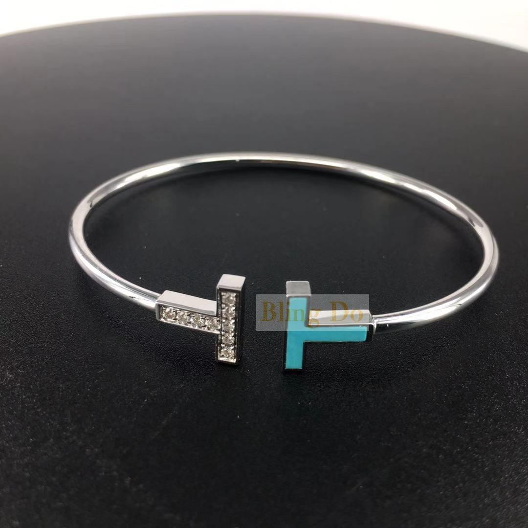 Tiffany T Diamond and Turquoise Wire Bracelet in 18k White Gold