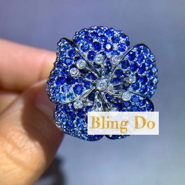 Blingdo Platinum Natural Blue Sapphire and Diamond Engagement Rings