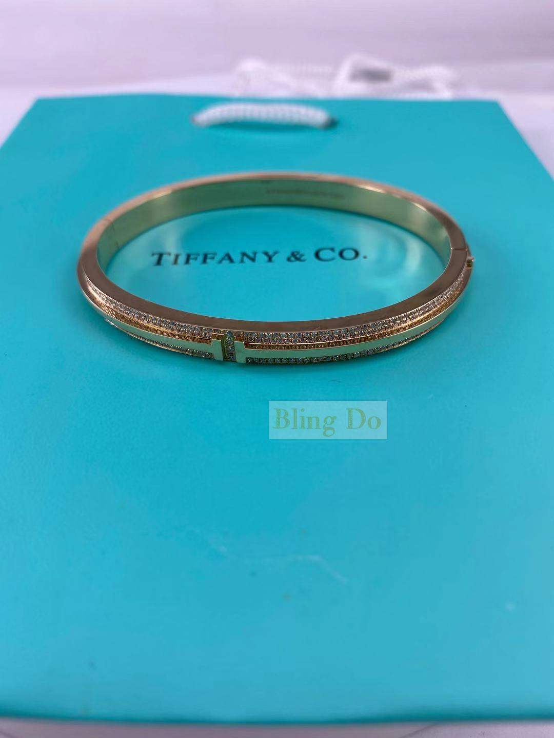 Tiffany T Two Hinged 18K Rose Gold Bangle with Diamond