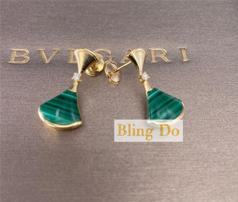 Bvlgari DIVAS' DREAM 18 kt rose gold earring set with malachite elements and round brilliant-cut diamonds