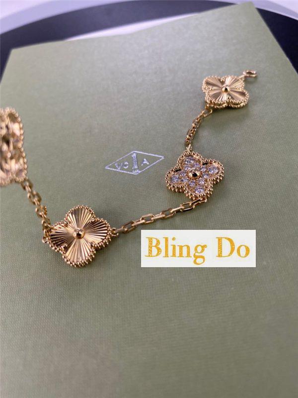 Van Cleef & Arpels Vintage Alhambra 18K Yellow gold 5 motifs bracelet with Diamond