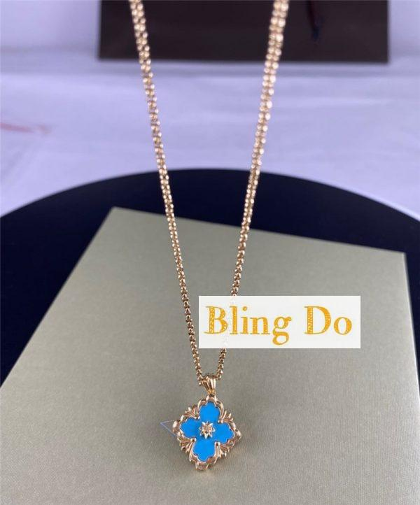 Buccellati Opera Color 18k Gold Turquoise Pendant Necklace