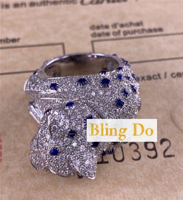 Cartier Panthère De Cartier Pt950 Ring With Sapphires, Emeralds And Diamonds