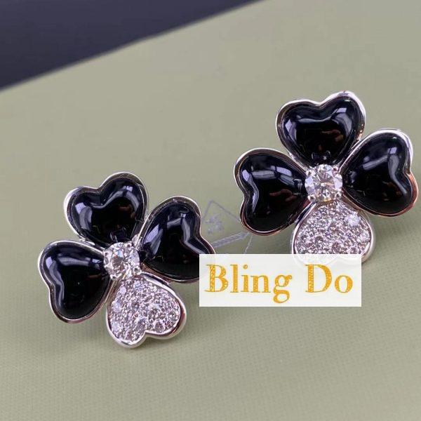 Van Cleef & Arpels Cosmos earrings, medium model, Rose gold, Diamond, Onyx