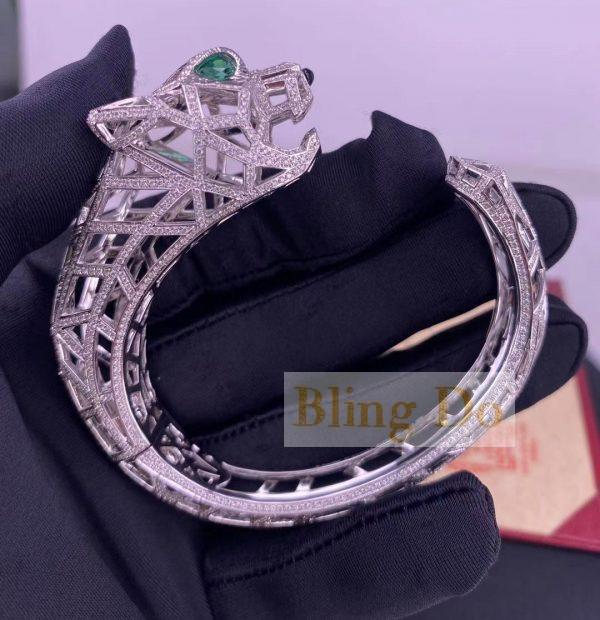 Panthère De Cartier 18K White Gold Bracelet with Onyx, Emeralds and Diamonds