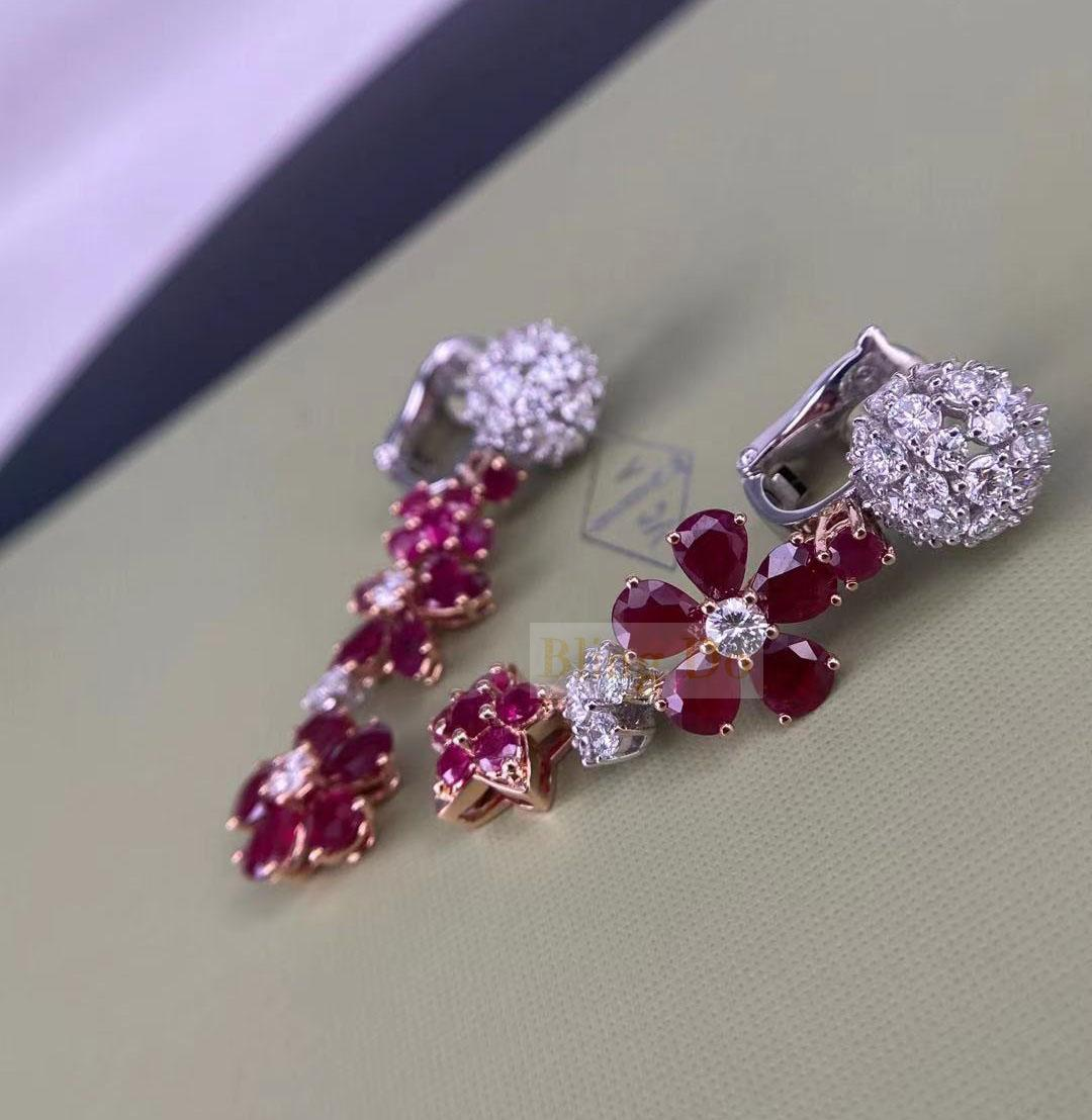Van Cleef & Arpels Folie Des Prés 18K Rose Gold Earrings with Diamond and Ruby
