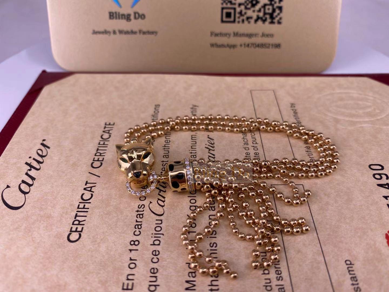 Panthère De Cartier 18K Yellow Gold Bracelet with Black Lacquer, Onyx, Tsavorite Garnets, Diamonds