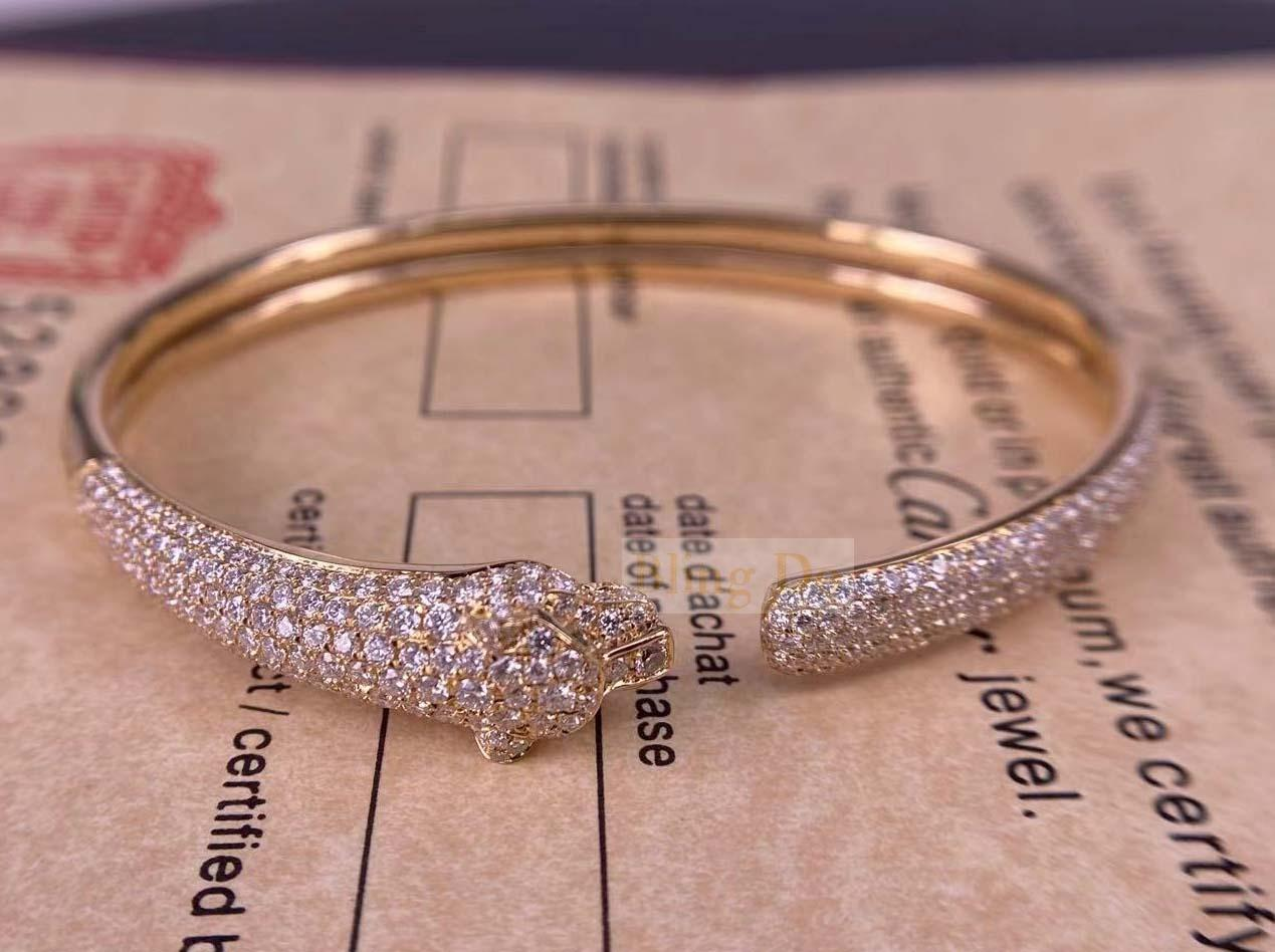 Panthère De Cartier 18K Yellow Gold Bracelet with Onyx, Emeralds and Diamonds